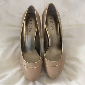 Shoes - GUESS Nude & Gold Patent Stilettos